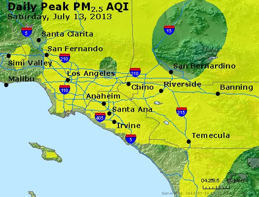 Peak Particles PM<sub>2.5</sub> (24-hour) - http://files.airnowtech.org/airnow/2013/20130713/peak_pm25_losangeles_ca.jpg