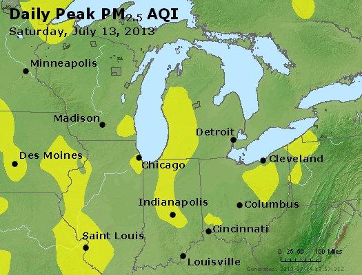 Peak Particles PM<sub>2.5</sub> (24-hour) - http://files.airnowtech.org/airnow/2013/20130713/peak_pm25_mi_in_oh.jpg