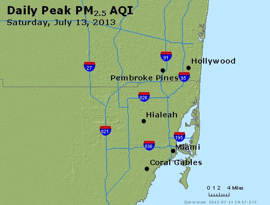 Peak Particles PM<sub>2.5</sub> (24-hour) - http://files.airnowtech.org/airnow/2013/20130713/peak_pm25_miami_fl.jpg