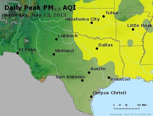Peak Particles PM<sub>2.5</sub> (24-hour) - http://files.airnowtech.org/airnow/2013/20130713/peak_pm25_tx_ok.jpg