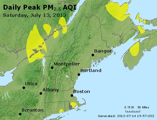 Peak Particles PM<sub>2.5</sub> (24-hour) - http://files.airnowtech.org/airnow/2013/20130713/peak_pm25_vt_nh_ma_ct_ri_me.jpg