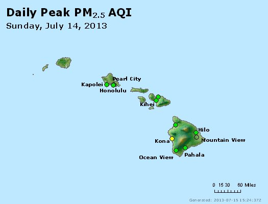 Peak Particles PM<sub>2.5</sub> (24-hour) - http://files.airnowtech.org/airnow/2013/20130714/peak_pm25_hawaii.jpg