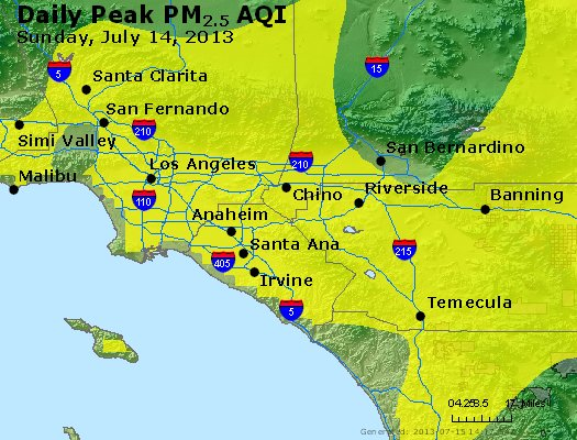 Peak Particles PM<sub>2.5</sub> (24-hour) - http://files.airnowtech.org/airnow/2013/20130714/peak_pm25_losangeles_ca.jpg