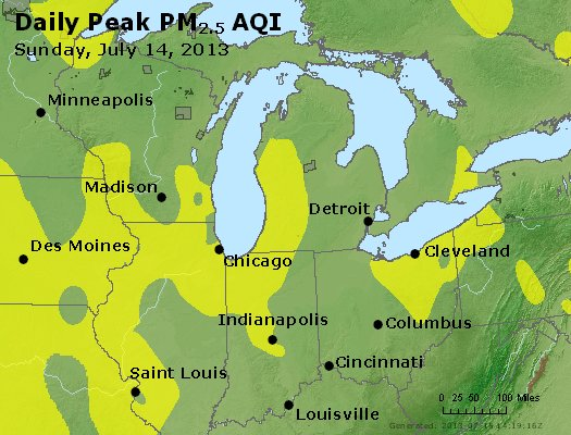 Peak Particles PM<sub>2.5</sub> (24-hour) - http://files.airnowtech.org/airnow/2013/20130714/peak_pm25_mi_in_oh.jpg