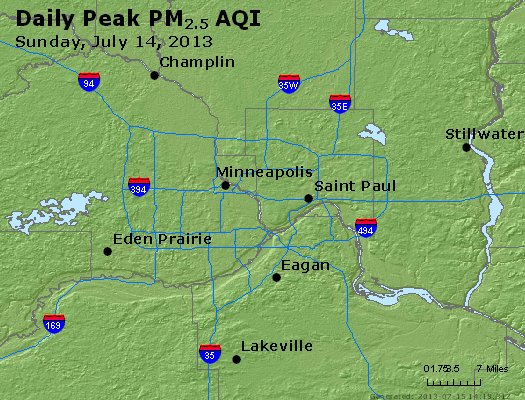 Peak Particles PM<sub>2.5</sub> (24-hour) - http://files.airnowtech.org/airnow/2013/20130714/peak_pm25_minneapolis_mn.jpg