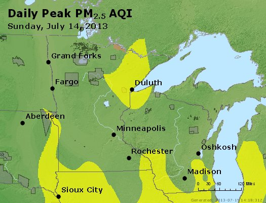 Peak Particles PM<sub>2.5</sub> (24-hour) - http://files.airnowtech.org/airnow/2013/20130714/peak_pm25_mn_wi.jpg