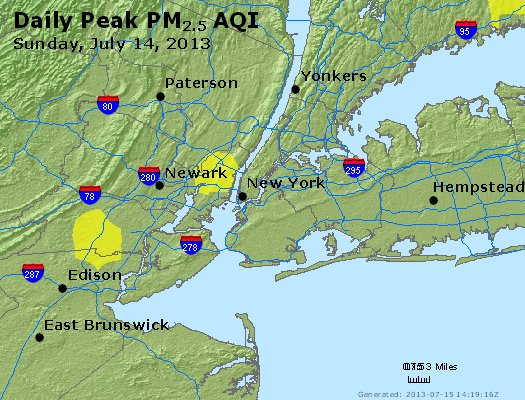 Peak Particles PM<sub>2.5</sub> (24-hour) - http://files.airnowtech.org/airnow/2013/20130714/peak_pm25_newyork_ny.jpg