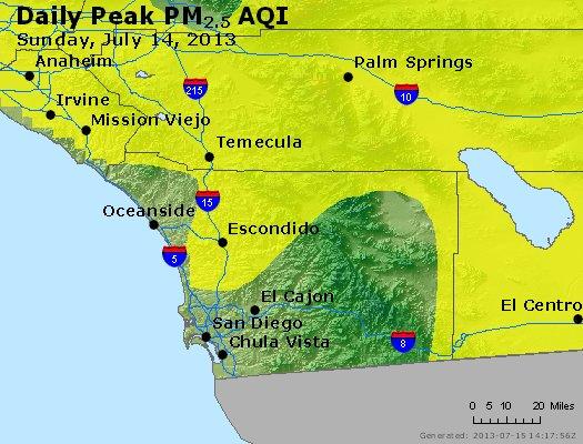 Peak Particles PM<sub>2.5</sub> (24-hour) - http://files.airnowtech.org/airnow/2013/20130714/peak_pm25_sandiego_ca.jpg