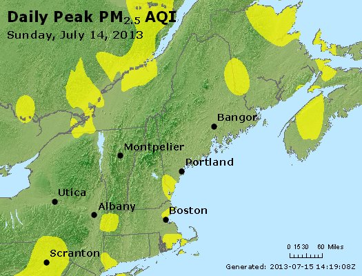 Peak Particles PM<sub>2.5</sub> (24-hour) - http://files.airnowtech.org/airnow/2013/20130714/peak_pm25_vt_nh_ma_ct_ri_me.jpg