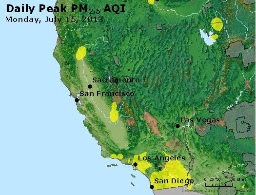 Peak Particles PM<sub>2.5</sub> (24-hour) - http://files.airnowtech.org/airnow/2013/20130715/peak_pm25_ca_nv.jpg