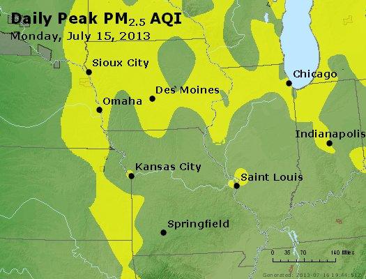 Peak Particles PM<sub>2.5</sub> (24-hour) - http://files.airnowtech.org/airnow/2013/20130715/peak_pm25_ia_il_mo.jpg