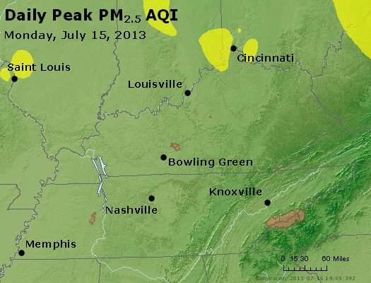 Peak Particles PM<sub>2.5</sub> (24-hour) - http://files.airnowtech.org/airnow/2013/20130715/peak_pm25_ky_tn.jpg