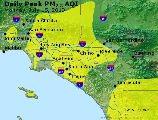 Peak Particles PM<sub>2.5</sub> (24-hour) - http://files.airnowtech.org/airnow/2013/20130715/peak_pm25_losangeles_ca.jpg