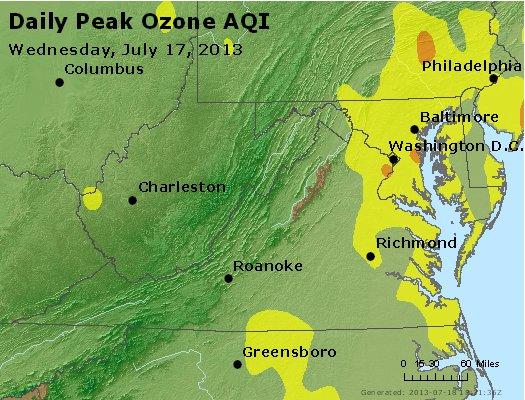 Peak Ozone (8-hour) - http://files.airnowtech.org/airnow/2013/20130717/peak_o3_va_wv_md_de_dc.jpg