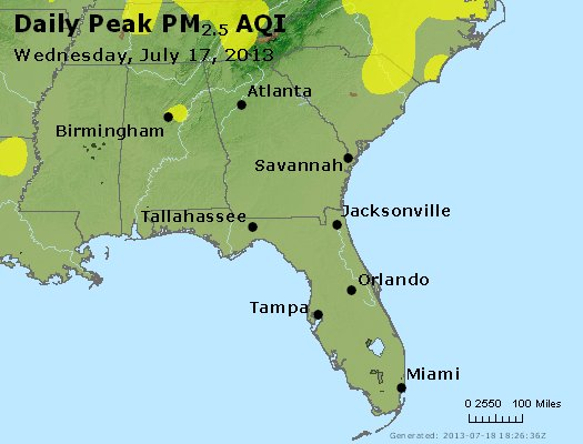 Peak Particles PM<sub>2.5</sub> (24-hour) - http://files.airnowtech.org/airnow/2013/20130717/peak_pm25_al_ga_fl.jpg