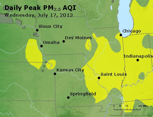 Peak Particles PM<sub>2.5</sub> (24-hour) - http://files.airnowtech.org/airnow/2013/20130717/peak_pm25_ia_il_mo.jpg