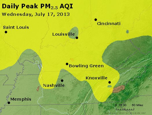 Peak Particles PM<sub>2.5</sub> (24-hour) - http://files.airnowtech.org/airnow/2013/20130717/peak_pm25_ky_tn.jpg