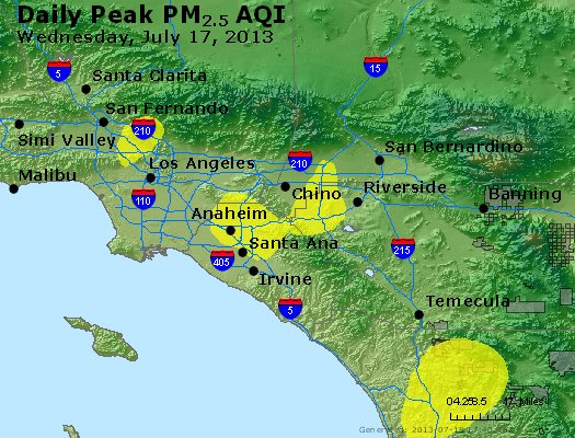 Peak Particles PM<sub>2.5</sub> (24-hour) - http://files.airnowtech.org/airnow/2013/20130717/peak_pm25_losangeles_ca.jpg