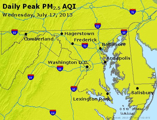 Peak Particles PM<sub>2.5</sub> (24-hour) - http://files.airnowtech.org/airnow/2013/20130717/peak_pm25_maryland.jpg