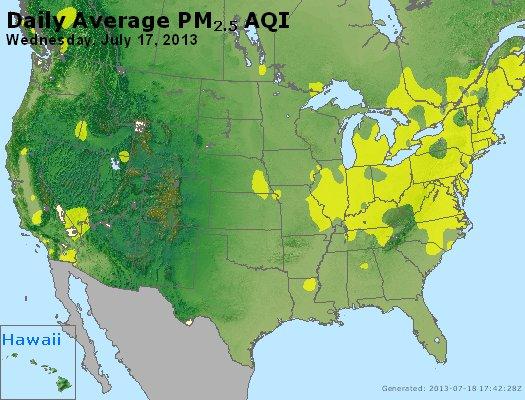 Peak Particles PM<sub>2.5</sub> (24-hour) - http://files.airnowtech.org/airnow/2013/20130717/peak_pm25_usa.jpg