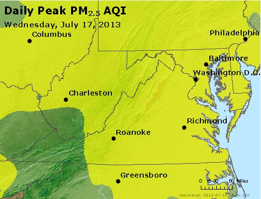 Peak Particles PM<sub>2.5</sub> (24-hour) - http://files.airnowtech.org/airnow/2013/20130717/peak_pm25_va_wv_md_de_dc.jpg