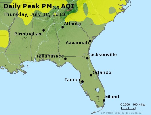 Peak Particles PM<sub>2.5</sub> (24-hour) - http://files.airnowtech.org/airnow/2013/20130718/peak_pm25_al_ga_fl.jpg