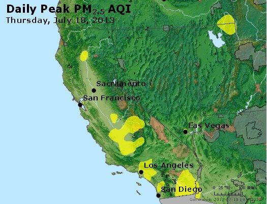 Peak Particles PM<sub>2.5</sub> (24-hour) - http://files.airnowtech.org/airnow/2013/20130718/peak_pm25_ca_nv.jpg