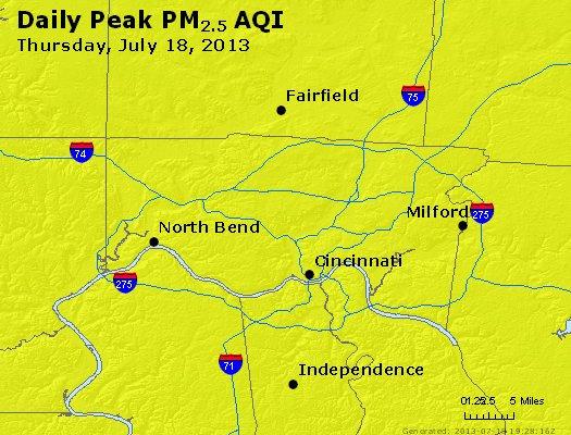 Peak Particles PM<sub>2.5</sub> (24-hour) - http://files.airnowtech.org/airnow/2013/20130718/peak_pm25_cincinnati_oh.jpg
