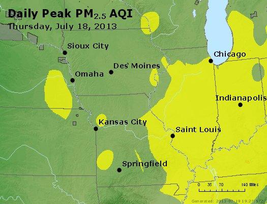 Peak Particles PM<sub>2.5</sub> (24-hour) - http://files.airnowtech.org/airnow/2013/20130718/peak_pm25_ia_il_mo.jpg