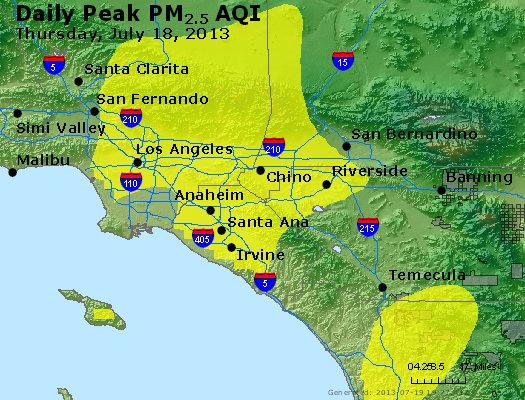 Peak Particles PM<sub>2.5</sub> (24-hour) - http://files.airnowtech.org/airnow/2013/20130718/peak_pm25_losangeles_ca.jpg