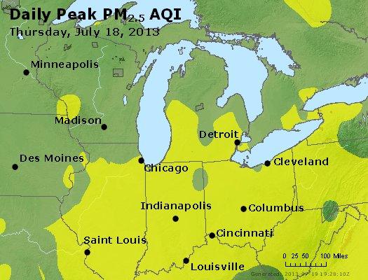 Peak Particles PM<sub>2.5</sub> (24-hour) - http://files.airnowtech.org/airnow/2013/20130718/peak_pm25_mi_in_oh.jpg