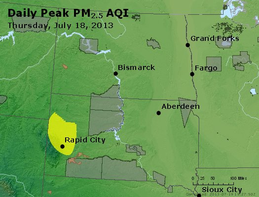 Peak Particles PM<sub>2.5</sub> (24-hour) - http://files.airnowtech.org/airnow/2013/20130718/peak_pm25_nd_sd.jpg