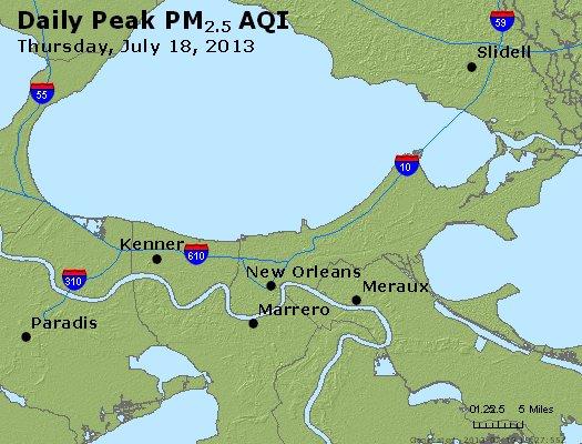 Peak Particles PM<sub>2.5</sub> (24-hour) - http://files.airnowtech.org/airnow/2013/20130718/peak_pm25_neworleans_la.jpg