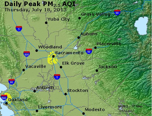 Peak Particles PM<sub>2.5</sub> (24-hour) - http://files.airnowtech.org/airnow/2013/20130718/peak_pm25_sacramento_ca.jpg