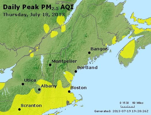 Peak Particles PM<sub>2.5</sub> (24-hour) - http://files.airnowtech.org/airnow/2013/20130718/peak_pm25_vt_nh_ma_ct_ri_me.jpg