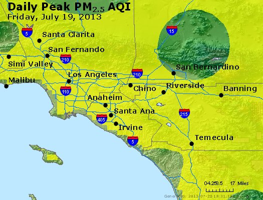 Peak Particles PM<sub>2.5</sub> (24-hour) - http://files.airnowtech.org/airnow/2013/20130719/peak_pm25_losangeles_ca.jpg