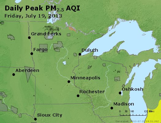 Peak Particles PM<sub>2.5</sub> (24-hour) - http://files.airnowtech.org/airnow/2013/20130719/peak_pm25_mn_wi.jpg