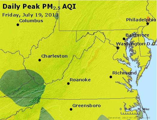 Peak Particles PM<sub>2.5</sub> (24-hour) - http://files.airnowtech.org/airnow/2013/20130719/peak_pm25_va_wv_md_de_dc.jpg