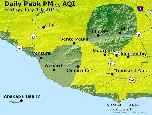 Peak Particles PM<sub>2.5</sub> (24-hour) - http://files.airnowtech.org/airnow/2013/20130719/peak_pm25_ventura.jpg