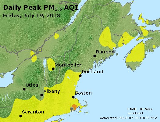 Peak Particles PM<sub>2.5</sub> (24-hour) - http://files.airnowtech.org/airnow/2013/20130719/peak_pm25_vt_nh_ma_ct_ri_me.jpg