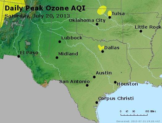 Peak Ozone (8-hour) - http://files.airnowtech.org/airnow/2013/20130720/peak_o3_tx_ok.jpg