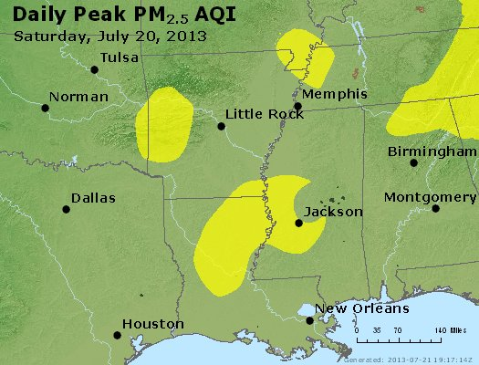 Peak Particles PM<sub>2.5</sub> (24-hour) - http://files.airnowtech.org/airnow/2013/20130720/peak_pm25_ar_la_ms.jpg