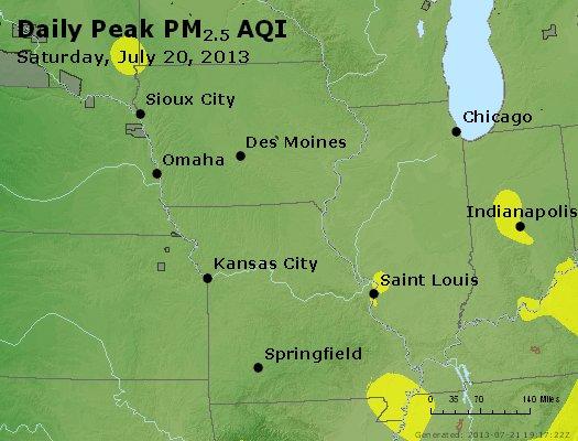 Peak Particles PM<sub>2.5</sub> (24-hour) - http://files.airnowtech.org/airnow/2013/20130720/peak_pm25_ia_il_mo.jpg