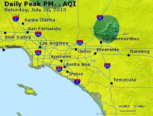 Peak Particles PM<sub>2.5</sub> (24-hour) - http://files.airnowtech.org/airnow/2013/20130720/peak_pm25_losangeles_ca.jpg