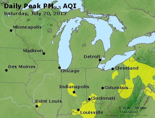 Peak Particles PM<sub>2.5</sub> (24-hour) - http://files.airnowtech.org/airnow/2013/20130720/peak_pm25_mi_in_oh.jpg