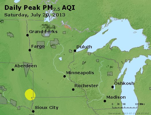 Peak Particles PM<sub>2.5</sub> (24-hour) - http://files.airnowtech.org/airnow/2013/20130720/peak_pm25_mn_wi.jpg