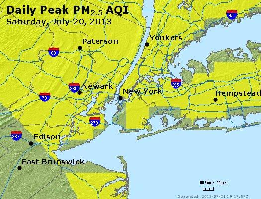 Peak Particles PM<sub>2.5</sub> (24-hour) - http://files.airnowtech.org/airnow/2013/20130720/peak_pm25_newyork_ny.jpg
