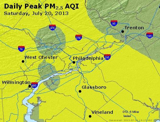 Peak Particles PM<sub>2.5</sub> (24-hour) - http://files.airnowtech.org/airnow/2013/20130720/peak_pm25_philadelphia_pa.jpg