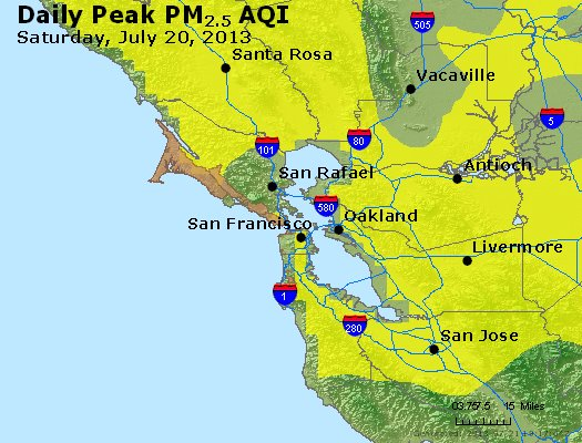Peak Particles PM<sub>2.5</sub> (24-hour) - http://files.airnowtech.org/airnow/2013/20130720/peak_pm25_sanfrancisco_ca.jpg