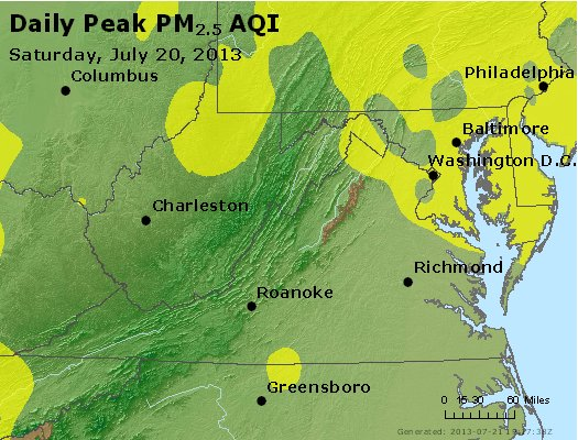 Peak Particles PM<sub>2.5</sub> (24-hour) - http://files.airnowtech.org/airnow/2013/20130720/peak_pm25_va_wv_md_de_dc.jpg